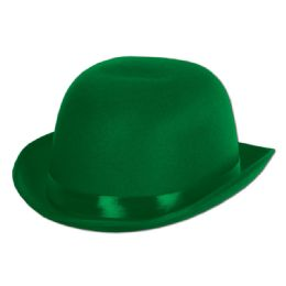 6 Wholesale Satin Sleek Derby Green; One Size Fits Most