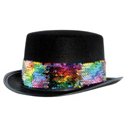 6 Wholesale Felt Topper W/rainbow Sequined Band One Size Fits Most; No Retail Packaging