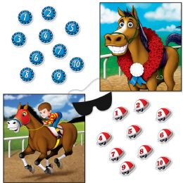 24 Wholesale Horse Racing Party Games Blindfold Mask W/10 Jockey Helmets & 10 Award Ribbons Included