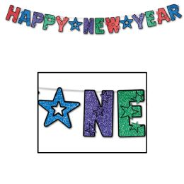 12 Wholesale Glittered Happy New Year Streamer MultI-Color