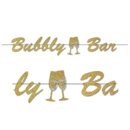 12 Wholesale Bubbly Bar Streamer Glitter Print; Assembly Required