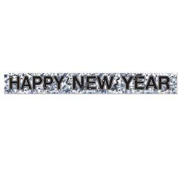 12 Wholesale Metallic Happy New Year Fringe Banner Prtd 1-Ply Pvc Fringe