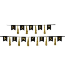 12 Wholesale Happy New Year Tassel Streamer Black & Gold; Can Use Each Piece Separately Or Combine To Create 1 Streamer