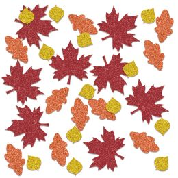 12 Wholesale Fall Leaf Deluxe Sparkle Confetti Gold, Orange, Red