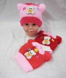 72 Units of Baby Girls Beanie Hat With Pompom - Junior / Kids Winter Hats