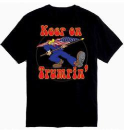 12 Units of Black T Shirt Keep On Trumpin - Mens T-Shirts