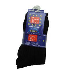 144 Units of Boys Nylon Dress Socks, Boys Uniform Socks, Solid Black Size L - Boys Dress Socks