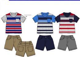 36 Units of Boys Twill Short Sets 3 Colors Size 2-4t - Boys Shorts