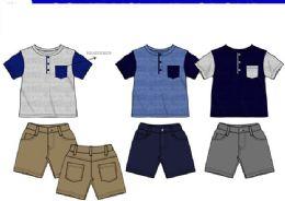 36 Units of Boys Twill Short Sets 3 Colors Size 2-4 T - Boys Shorts