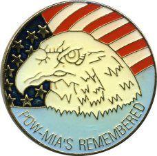 "96 Wholesale Brass Hat Pin, ""poW-Mias Remembered"""
