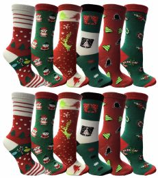 120 Units of Christmas Printed Socks, Fun Colorful Festive, Crew, Sock Size 9-11 - Event Planning Gear