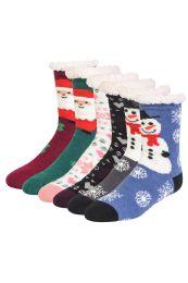 48 Units of Cozy Thermal Christmas Printed NoN-Skid Socks Size 6-8 - Girls Crew Socks