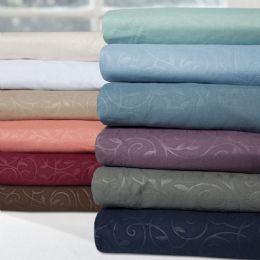 12 Units of Embossed Vine Sheet Set Twin Size In Mocha - Bed Sheet Sets