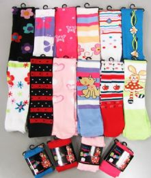 48 of Girls Acrylic Tights With Print Size Small