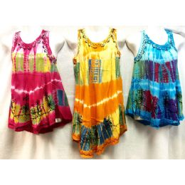 12 of Girls Rayon Tie Dye Dress With Sequins Size Small