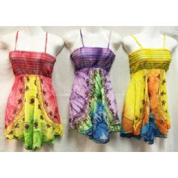 12 of Girls Rayon Tie Dye Dresses With Smocked Top Assorted Size Medium