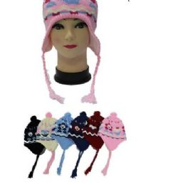 96 Bulk Kids Flower Printed Helmet Winter Hat