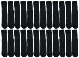 Yacht & Smith Kids Black Solid Tube Socks Size 4-6 Bulk Pack