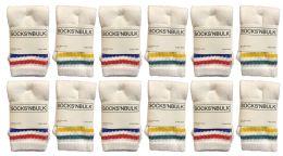 120 Units of Yacht & Smith Kids Cotton Tube Socks White With Stripes Size 4-6 - Boys Crew Sock