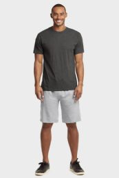 12 Units of Knocker Mens Lightweight Terry Shorts In Heather Grey Size Large - Mens Shorts