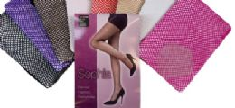 48 Units of Ladies' Nylon Fishnet Pantyhose One Size In Red - Womens Pantyhose