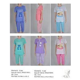 72 Units of Ladies 2 Piece Summer Pj Set - Women's Pajamas and Sleepwear
