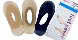 96 Units of Ladies' Foot Cover Sock Nylon One Size In Dark Beige - Womens Slipper Sock