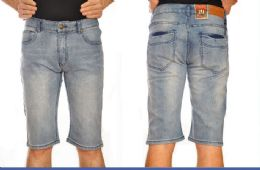 12 Units of Denim Shorts Solid Color In Assorted Sizes - Mens Shorts