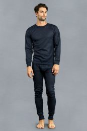 12 Units of Men's Thermal Top And Bottom Set Color Navy Size L - Mens Thermals