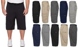 36 Units of Men's Belted Cotton Cargo Pocket Shorts Extended Sizes 44-50 In khaki - Mens Shorts