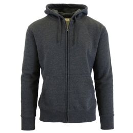 24 Units of Men's FleecE-Lined Zip Hoodie Solid Gray Bulk Buy - Mens Clothes for The Homeless and Charity