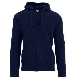 24 Units of Men's Fleece Lined Zip Hoodie Solid Navy Bulk Buy - Mens Clothes for The Homeless and Charity
