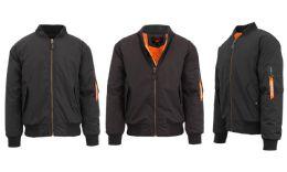 12 Units of Men's Heavyweight MA-1 Flight Bomber Jackets Black Size Large - Men's Winter Jackets