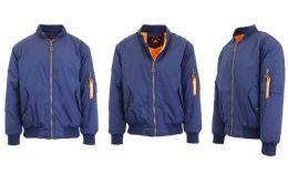 12 Units of Men's Heavyweight MA-1 Flight Bomber Jackets Navy Size Large - Men's Winter Jackets
