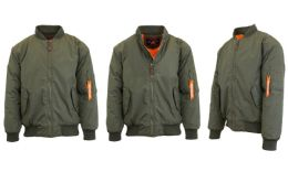12 Units of Men's Heavyweight MA-1 Flight Bomber Jackets Olive Size Medium - Men's Winter Jackets