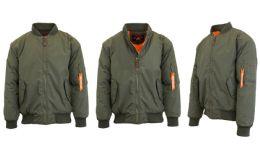 12 Units of Men's Heavyweight MA-1 Flight Bomber Jackets Olive Size Large - Men's Winter Jackets