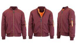 12 Units of Men's Heavyweight MA-1 Flight Bomber Jackets Maroon Size Large - Men's Winter Jackets