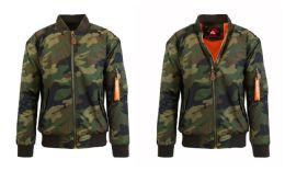 12 Units of Men's Heavyweight MA-1 Flight Bomber Jackets Woodland Camo Size Medium - Men's Winter Jackets