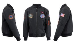 12 Units of Men's Heavyweight MA-1 Flight Bomber Jackets Black With Patches Size Large - Men's Winter Jackets
