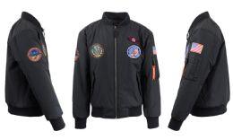 12 Units of Men's Heavyweight MA-1 Flight Bomber Jackets Black With Patches Size Medium - Men's Winter Jackets