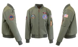 12 Units of Men's Heavyweight MA-1 Flight Bomber Jackets Olive With Patches Size Large - Men's Winter Jackets