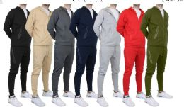 24 Units of Men's Matching Jogger Set Top And Bottom Olive Green Only - Mens Sweat Shirt