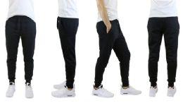 24 Bulk Men's Slim Fit Fleece Jogger Sweatpants Pockets, Solid Black