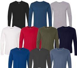 36 Bulk Mens Cotton Long Sleeve Tee Shirt Assorted Colors Size 2X Large