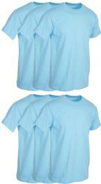 6 Wholesale Mens Light Blue Cotton Crew Neck T Shirt Size Medium