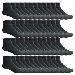 240 Units of Mens Socks'nbulk Cotton Sport Ankle Socks Size 10-13 Solid Black - Men's Socks for Homeless and Charity