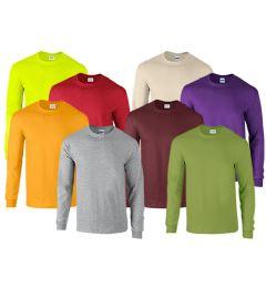 72 Bulk Mill Graded Gildan Irregular Adults Long Sleeve T-Shirts Assorted Colors And Sizes