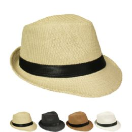 12 Units of Natural Straw Fedora Hat In Assorted Colors - Fedoras, Driver Caps & Visor