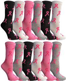 24 Units of Pink Ribbon Breast Cancer Awareness Crew Socks For Women Size 9-11 - Breast Cancer Awareness Socks
