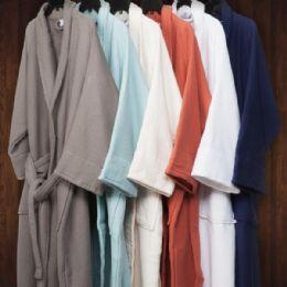 2 Bulk Long Staple Cotton Unisex Waffle Weave Bath Robe In Navy